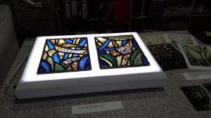 Two panels form our stained glass window