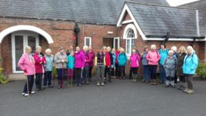 Centenary Walk 6 – members gather outside Crosby-on-Eden village hall