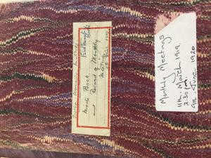 Front cover of Scotby WI's first record book